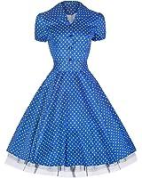 Pretty Kitty Fashion 50s Polka Dot Blau Weiß Cocktail Kleid - JETZT bis Größe 52