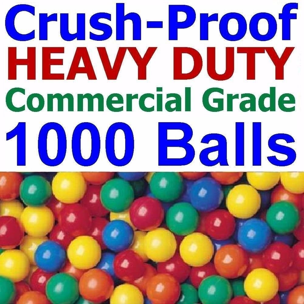 1000 pcs Commercial Grade Heavy Duty Crush-Proof Plastic Ball Pit Balls in Bright Colors - Jumbo 3'' Phthalate Free BPA Free non-PVC non-Recycled non-Toxic