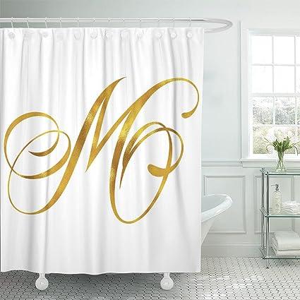 Amazon Emvency Shower Curtain Letter Monogram M Initials Script