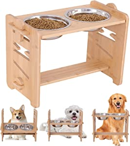 Elevated Dog Bowl,Adjustable Bamboo Raised Pet Stand with 2 Stainless Steel Bowls,Large Dog Food Water Bowl Holder Pet Slow Feeder for Cats and Dogs.