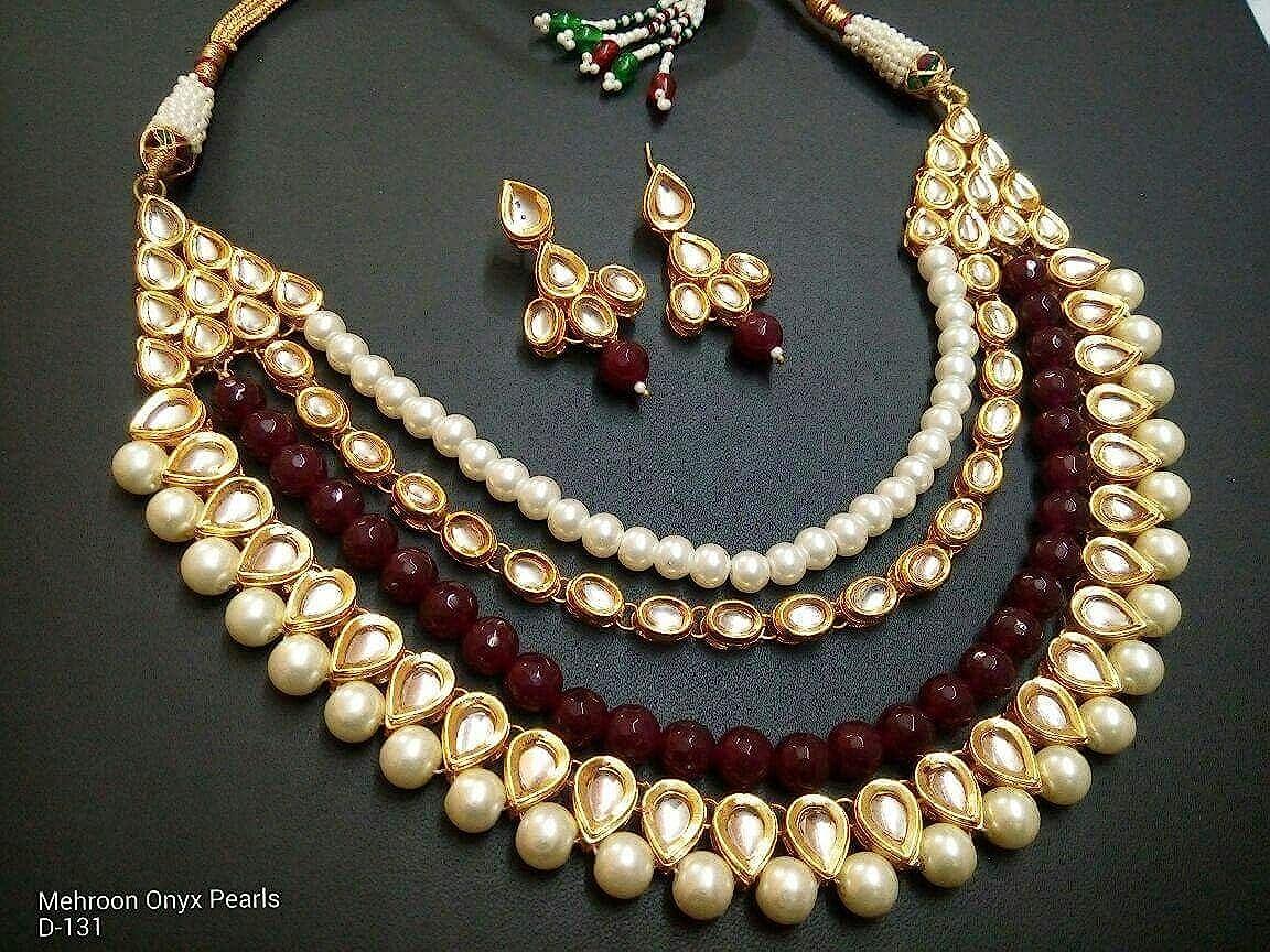 Indian Traditional Kundan Meenakari Maroon Pearl Beads Bridal Jewellery Set Imlistreet BVN205