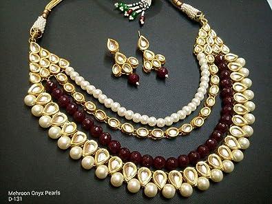 Amazon Com Indian Traditional Kundan Meenakari Maroon Pearl Beads