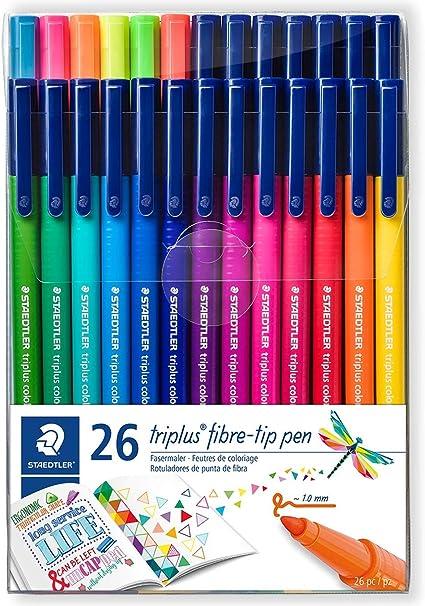 Staedtler 323 TB26. Rotuladores de colores de punta fina Triplus Color. Pack de 26 marcadores de colores variados.: Amazon.es: Oficina y papelería