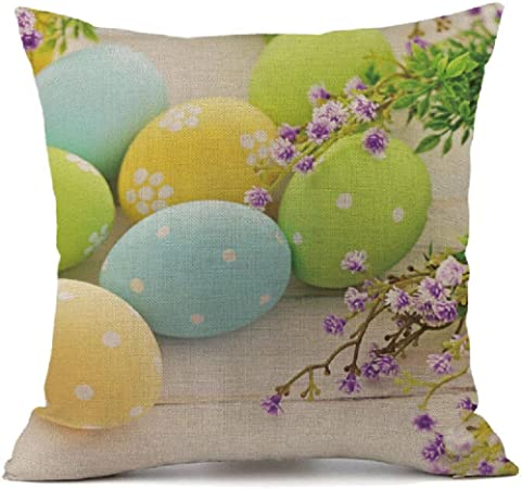 A Easter cartoon rabbit//egg//chicken Pillow Case happy easter Pillow Cushion Cover for Sofa Bed Home Decoration Festival 45cm*45cm Pingtr Easter Pillow Case