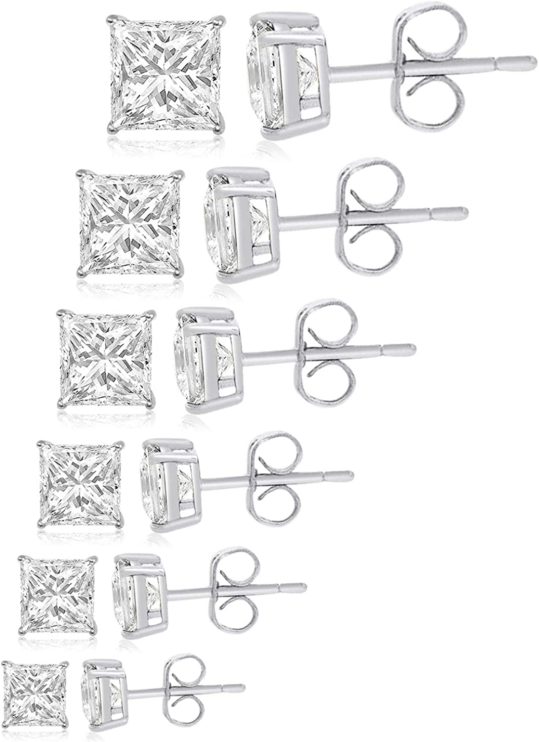 TIONEER Sterling Silver Stud Earring Set (Pack of 6 Pairs) for Women and Men, Cubic Zirconia Round Cut & Princess Cut, (Black, Silver, Rose Gold), 4mm - 9mm