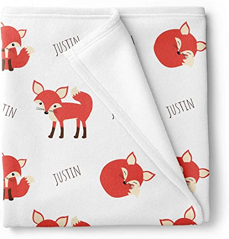 choose colors blanket custom fox blanket Fox Baby Girl Name Blanket in mint and coral personalized blanket fox personalized blanket