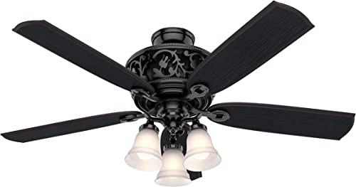 Hunter Promenade Indoor Ceiling Fan with LED Lights and Remote Control, 54 , Gloss Black