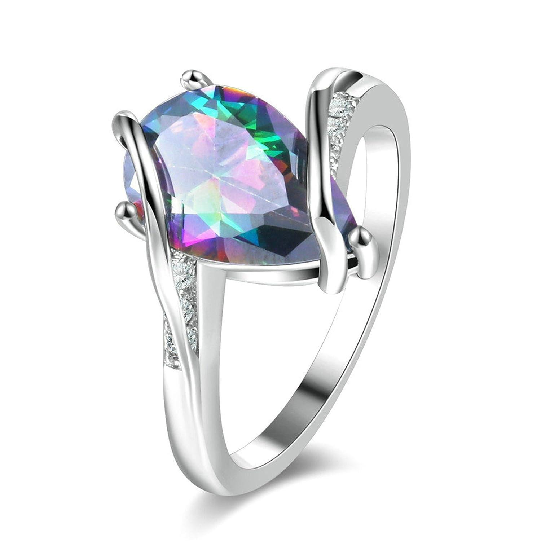 AMDXD Bijoux Plaqué Argent Bague de Mariage pour Femme Coloré Ovale Cœur Cristal Blanc Taille 54