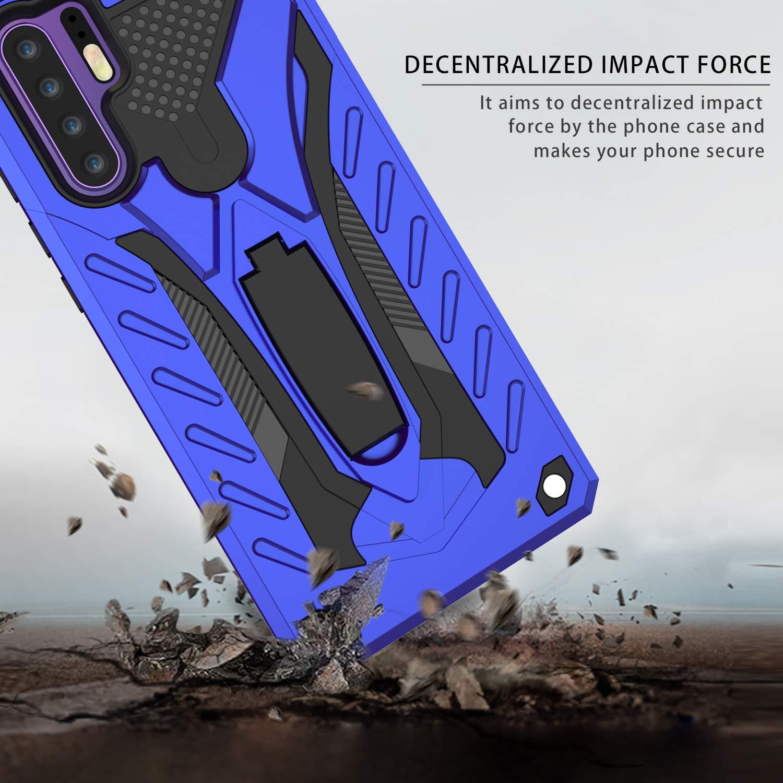 MILAN NICE Funda para Huawei P30 de Silicona y PC Antigolpes Carcasa Protectora Anti-arañazos y Antideslizante con Soporte Incoporado (Azul)