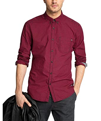 edc by ESPRIT Herren Slim Fit Freizeit Hemd Kariert, Gr. Small, Rot (Red 630):  Amazon.de: Bekleidung