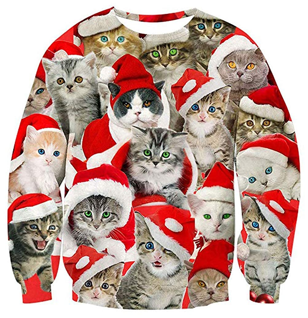 ANEMEL Unisex Ugly Christmas Sweater 3D Digital Printed Graphic Sweatshirt Funny Long Sleeve Pullover