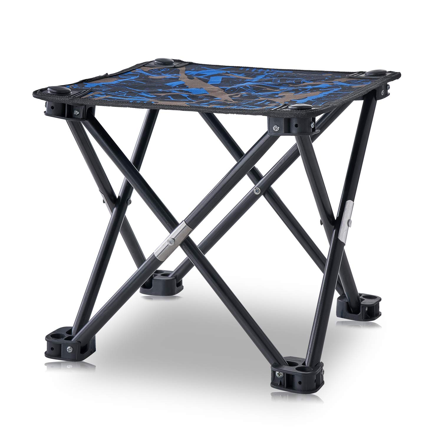 Folding Camping Stool, Mini Folding Stool Portable, Mini Portable Chair for Beach, Picnic Party, Camping, Barbecue, Fishing, Hiking, 600D Oxford Cloth with Portable Bag (Camouflage) (Blue Camo) by AILLOVCOL
