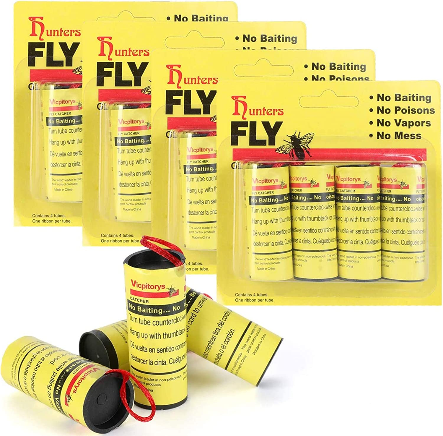 TS LLC 16pc Sticky Fly Ribbon Paper Strips Flying Insects Catcher Tapes for Flies Bugs Mosquitoes Catching