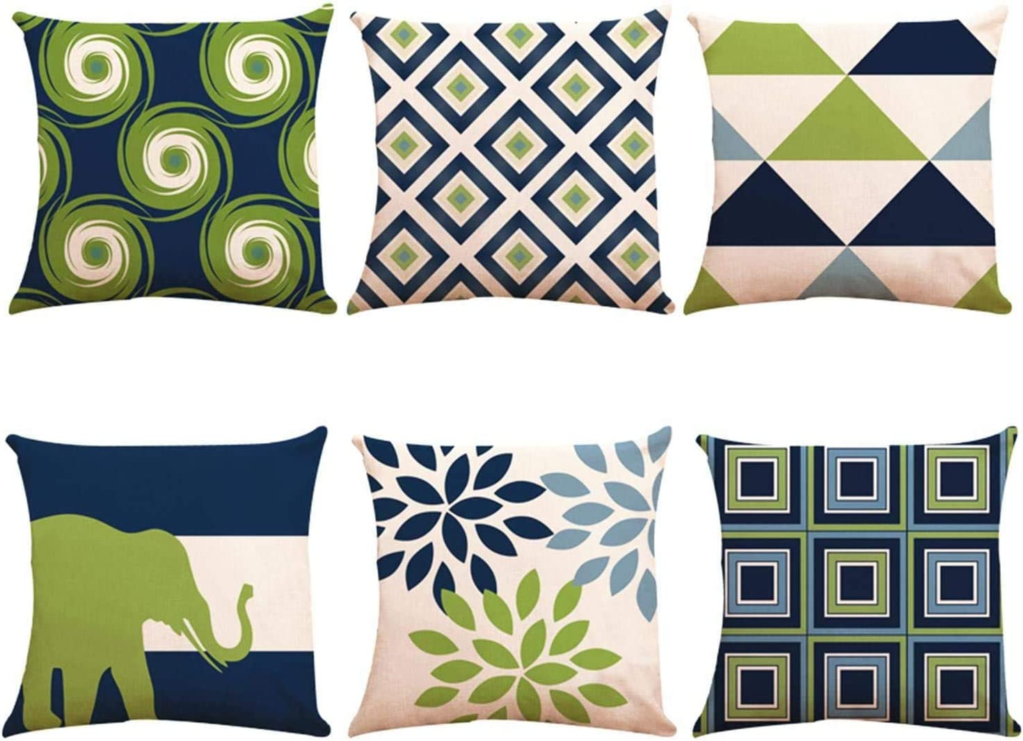 Decorative Throw Pillow Covers 20 x 20 Inch Double Side Design,ZUEXT Set of 6 Geometric Cotton Linen Indoor Outdoor Pillow Case Cushion Cover for Car Sofa Home Decor(Navy Pear Green New Living Series)