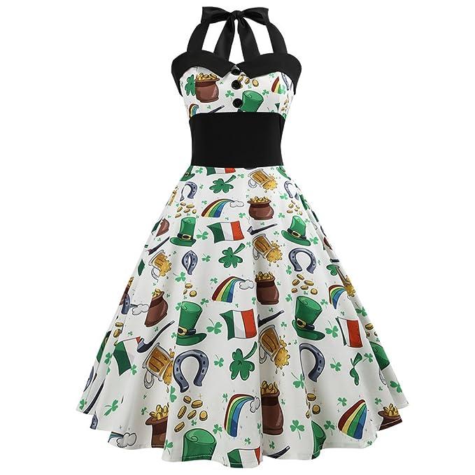 ... Neckholder Rockabilly,Frauen Vintage Druck Bodycon ärmelloses  Halter-Abend-Partei-Abschlussball-Schwingen-Kleid  Amazon.de  Bekleidung e7d16d8697