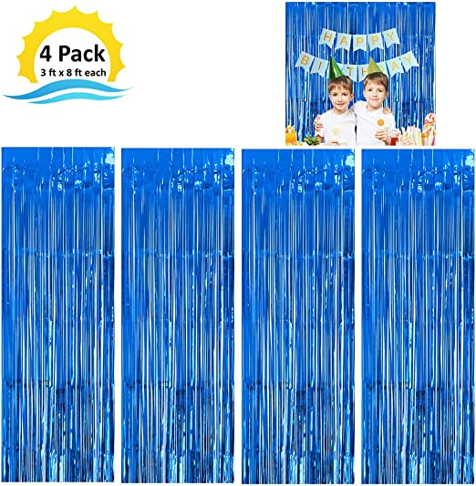 Electric Blue Tinsel Foil Curtain 3Ft wide 6/' tall.