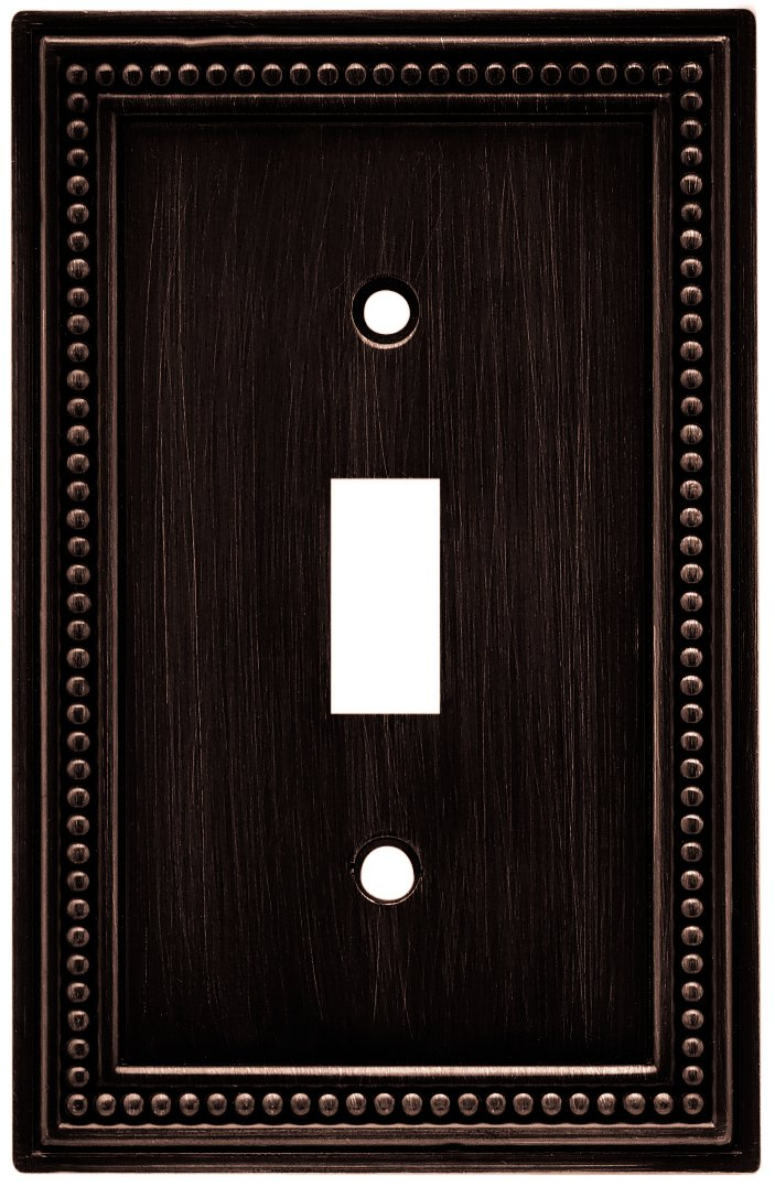 Brainerd 64411 Beaded Single Toggle Switch Wall Plate / Switch Plate / Cover, Venetian Bronze by Brainerd