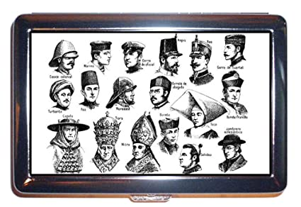 Victorian Men in Hats; Fun 1800s Illustration ID Wallet or Cigarette Case USA Made