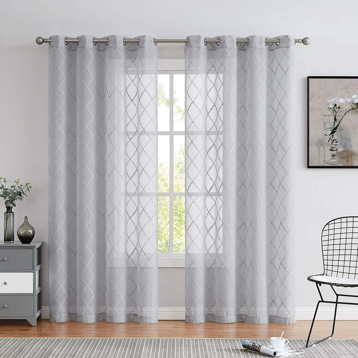 Variegatex Gray Sheer Curtain Panels 95 Inches Long for Living Room, Diamond Pattern Embroidery Voile Window Drapes with Grommets for Bedroom, 54×95, Set of 2