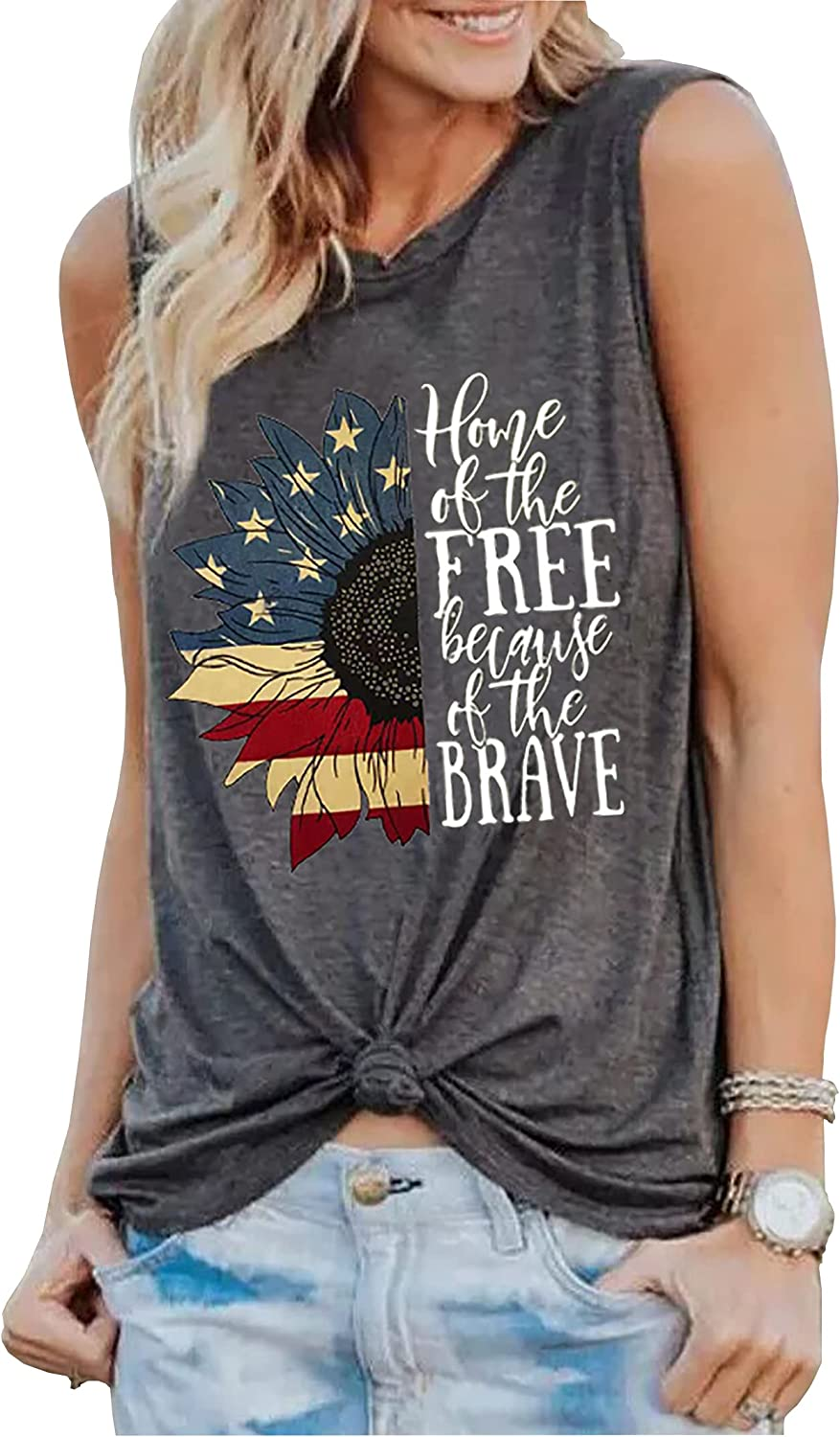 Sunflower American Flag Home of The Free Because of The Brave Tank Top Women 4th of July USA Patriotic Tee Shirt