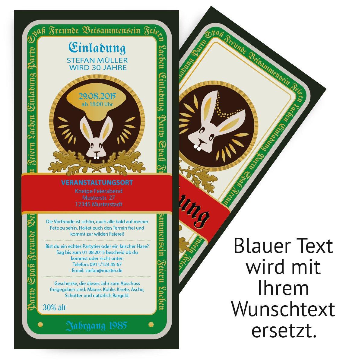 Einladungen Zum Geburtstag (50 Stück) Kräuterlikör Etikett Jäger Hase  Kräuter Meister Bitter: Amazon.de: Bürobedarf U0026 Schreibwaren