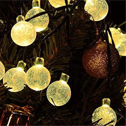 glumes led bubble ball solar string lights 30 lamp 197 ft 2 modes hanging