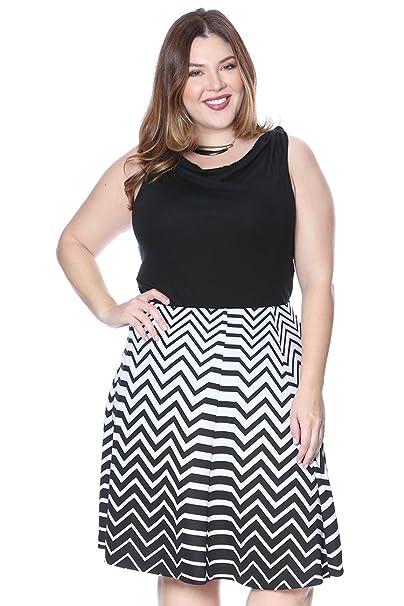 Plus Size Chevron A Line Skirt Blackwhite 3x At Amazon Womens