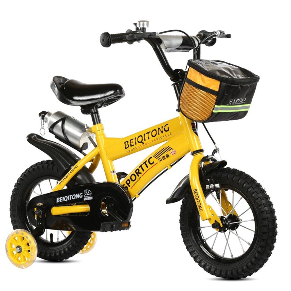 KANGR-子ども用自転車 子供用自転車適合2-3-6-8男の子と女の子子供用玩具屋外用マウンテンバイクハンドルバーとサドルはフラッシュトレーニングホイールで調節可能な高さにできますウォーターボトルとホルダー-12 / 14/16/18インチ ( 色 : イエロー いえろ゜ , サイズ さいず : 16 inches ) B07BTWWJ91 16 inches|イエロー いえろ゜ イエロー いえろ゜ 16 inches