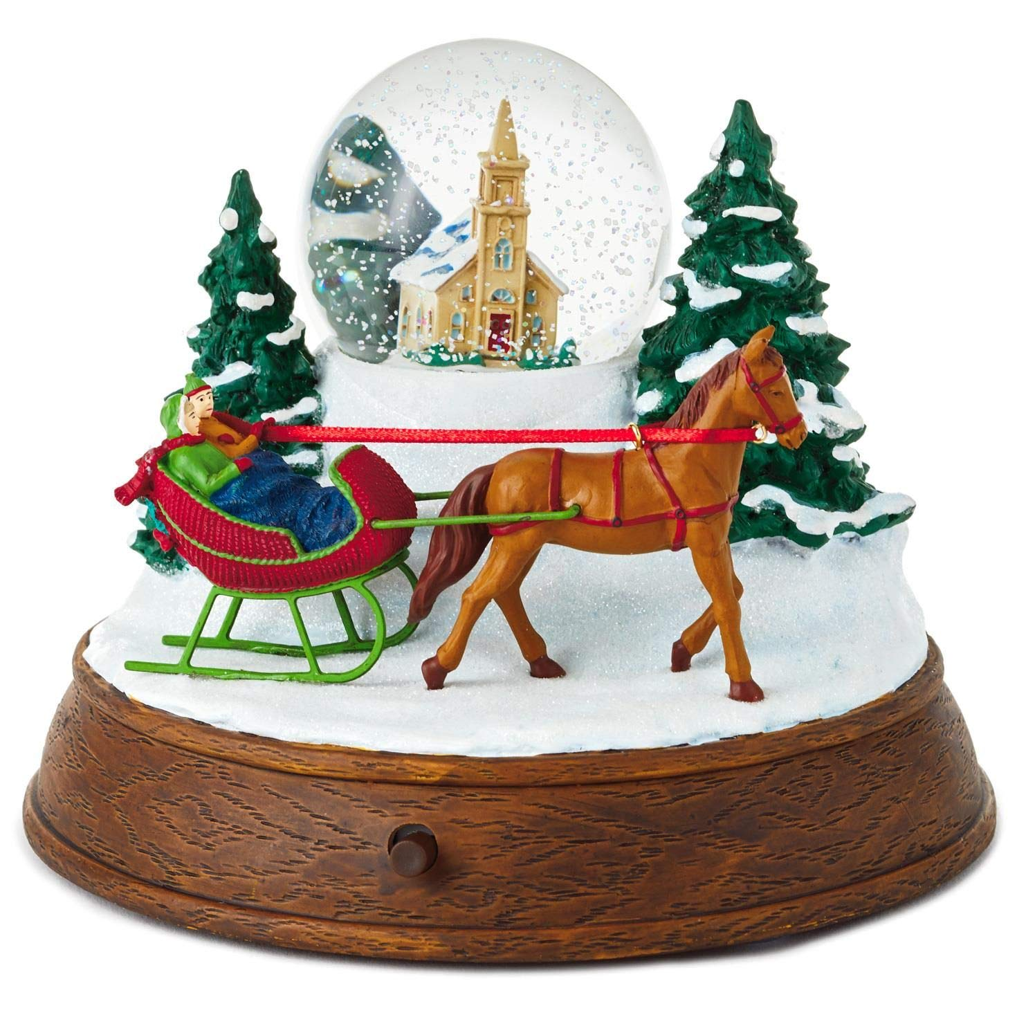 Hallmark Christmas in Evergreen Sleigh Ride Musical Snow Globe with Light Snow Globes