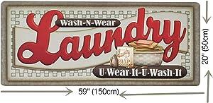 Abreeze Vintage Rug for Laundry Room Nonslip Rubber Backer Mat Floor Runner Durable Carpet Waterproof Kitchen Mats 20''x59'', 1pc