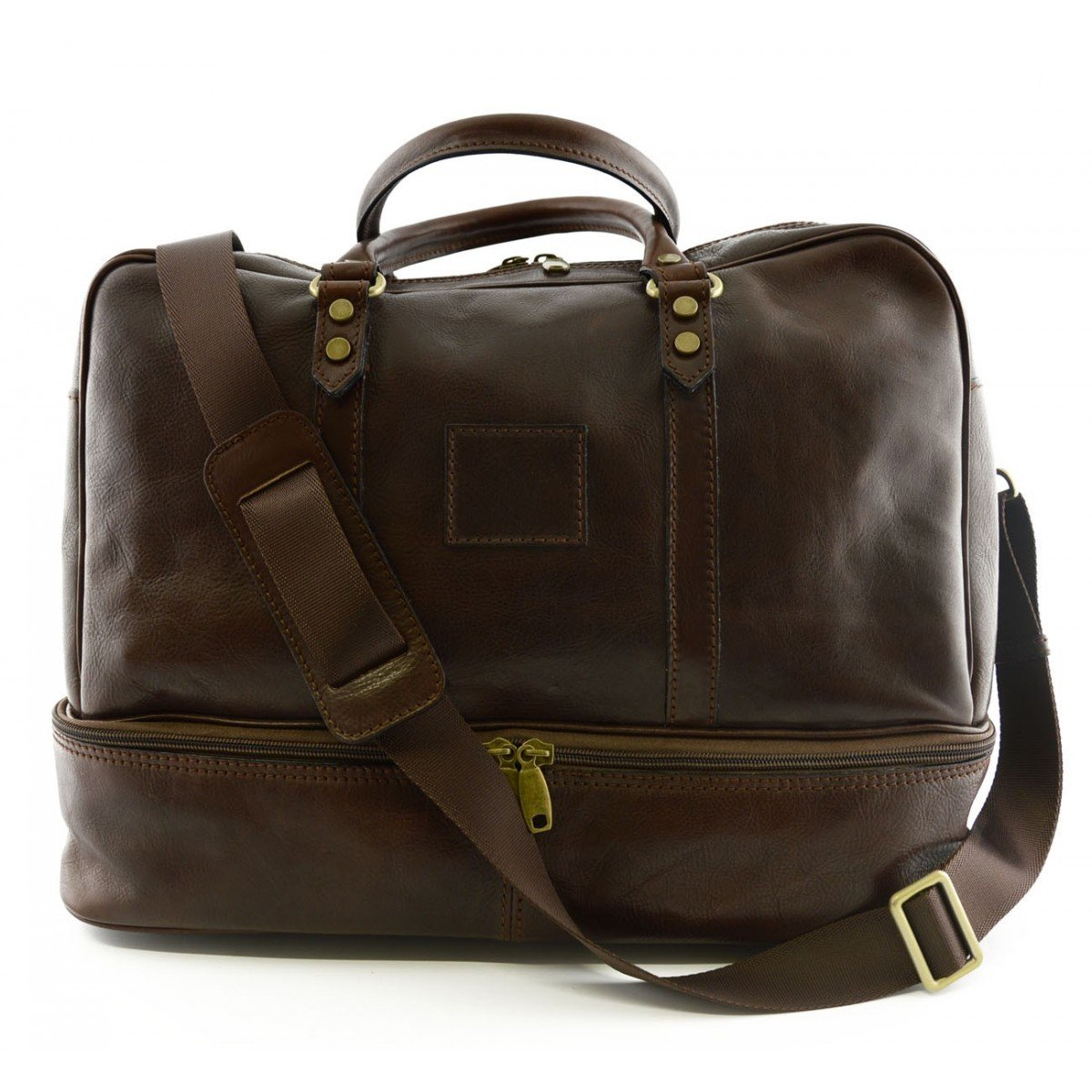 Made In Italy Leather Travel Bag Color Dark Brown - Travel Bag B014T6HU58