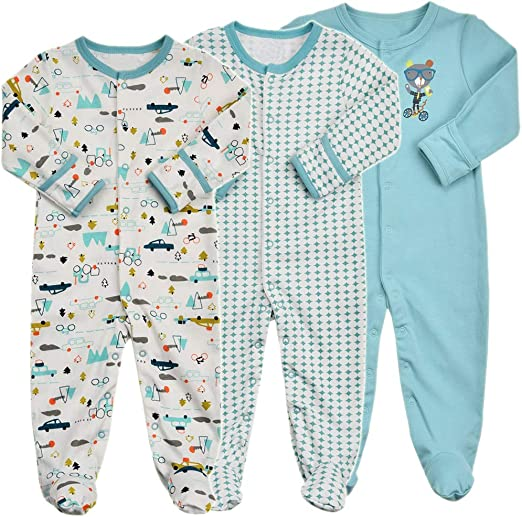New Carter/'s Woodland Animal Cotton Pajama PJs Footie Sleeper Baby Boy Gray