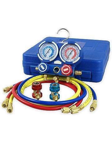 ZENY Diagnostic A/C Manifold Gauge Set R134a Refrigeration Kit Brass Auto Serivice Kit 4FT