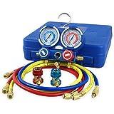 "ZENY Diagnostic A/C Manifold Gauge Set R134a Refrigeration Kit Brass Auto Serivice Kit 4FT w/Case, 1/4"" SAE Fittings"