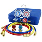 ZENY Diagnostic A/C Manifold Gauge Set R134a Refrigeration Kit Brass Auto Serivice Kit 4FT w/Case, 1/4' SAE Fittings