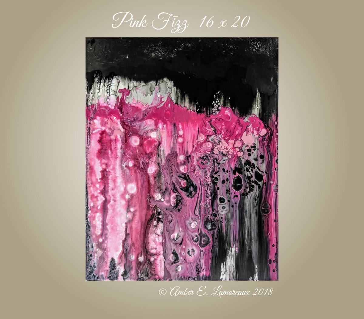 Amazon com abstract painting pink fizz fine art acrylic canvas impasto modern art pink painting black white 16 x 20 pour painting art pink abstract
