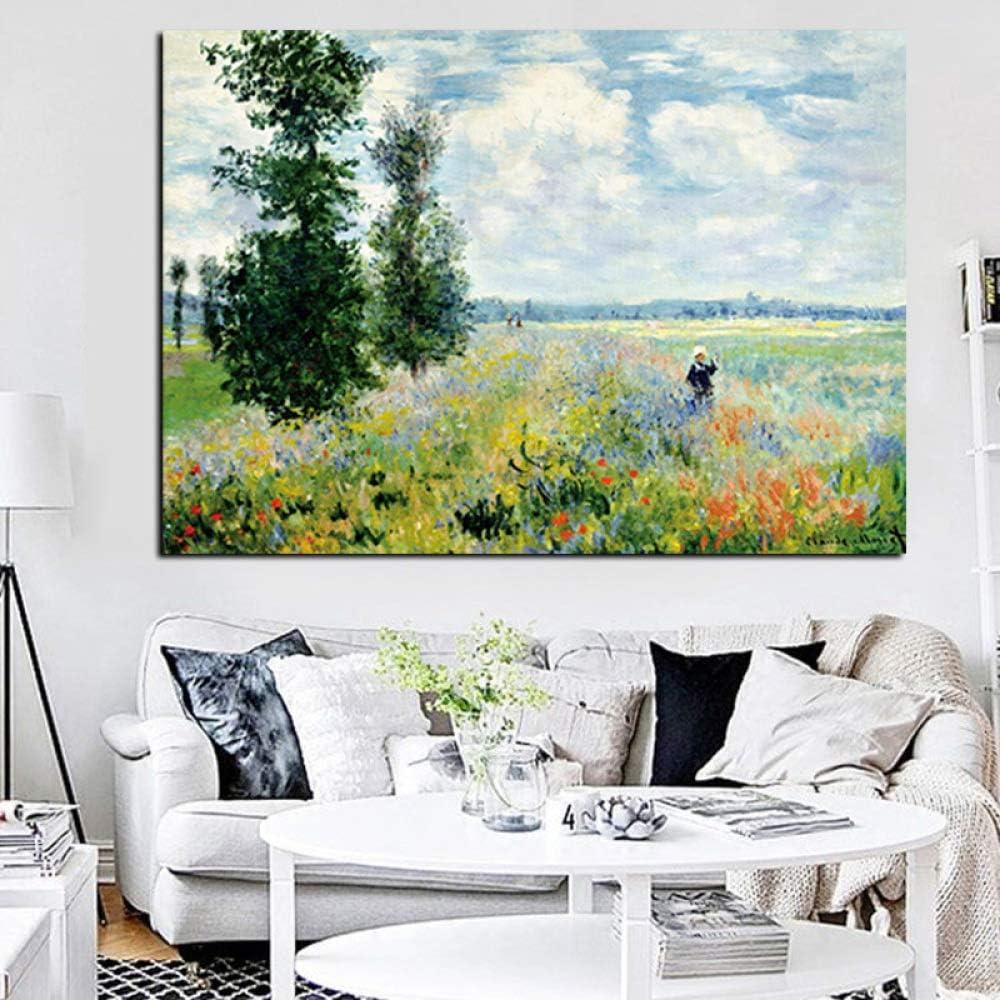 tzxdbh Imprimir Claude Monet Amapolas en Argenteui Paisaje Pintura al óleo sobre Lienzo Arte Imagen de la Pared Impresionista para la Sala Cuadros-in de 60x90 CM sin Marco con Marco