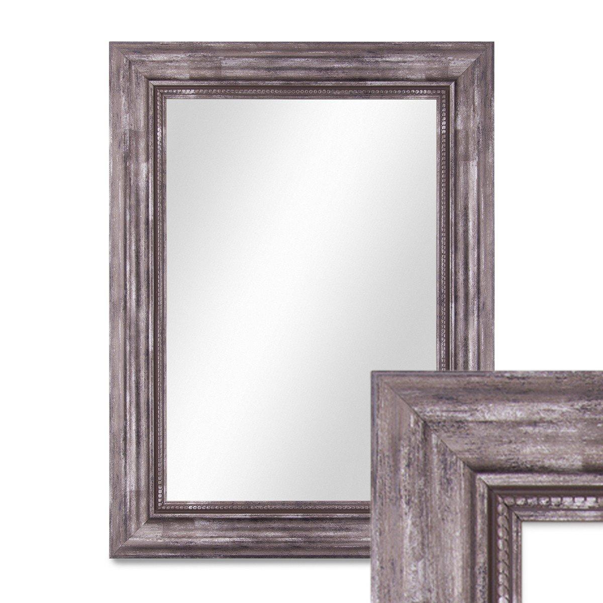 PHOTOLINI Wand-Spiegel 40x50 cm im Massivholz-Rahmen Barock-Stil Antik Silber Spiegelfläche 30x40 cm