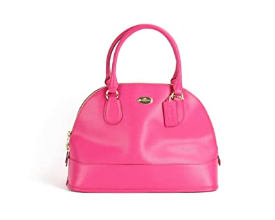 Coach Cross-grain Pink Ruby Leather Cora Domed Satchel: Handbags ...
