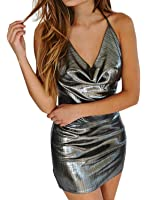 Futurino Women's Halter Backless Plunge Neck Bodycon Shinny Party Mini Dress