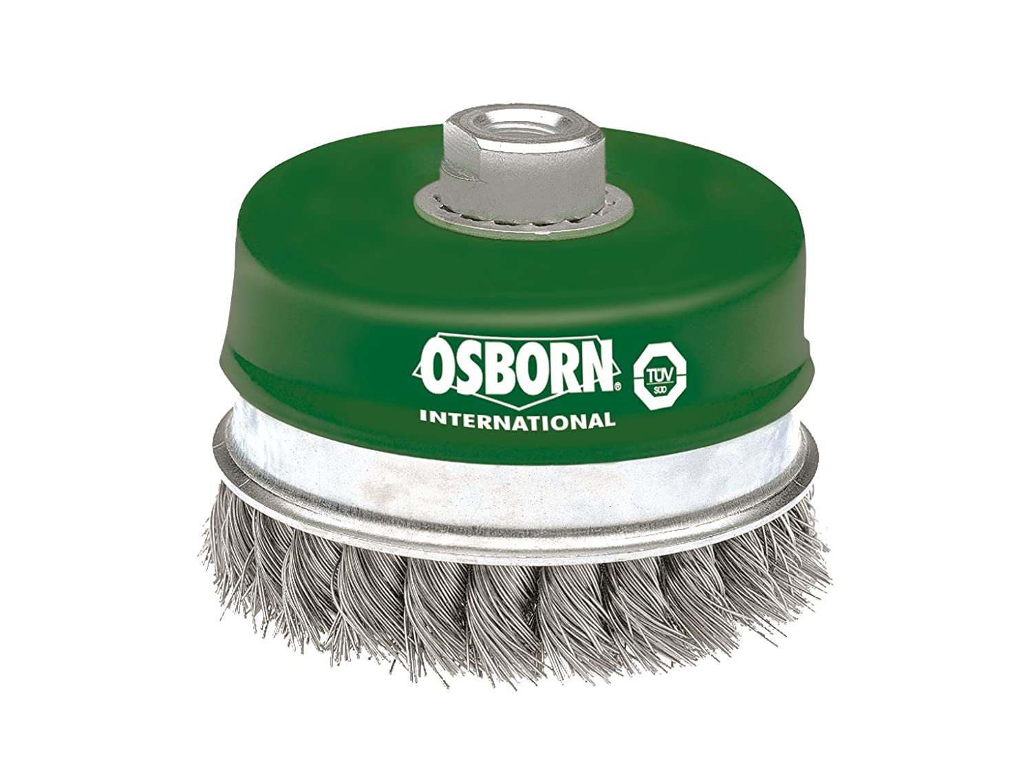 Osborn Pot Brush for Angle Grinder 180 mm, Diameter 100 mm, Thread M 14 x 2, Stainless Steel Twisted Wire 0.50 mm with Support Ring TUV Tested, Green, 2608354