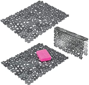 mDesign Decorative Kitchen Plastic Sink Protector Set, Quick Draining - Protect Surfaces and Dishes - Modern Floral Design - Includes 1 Saddle, 2 Large Mats - Set of 3 - Graphite Gray