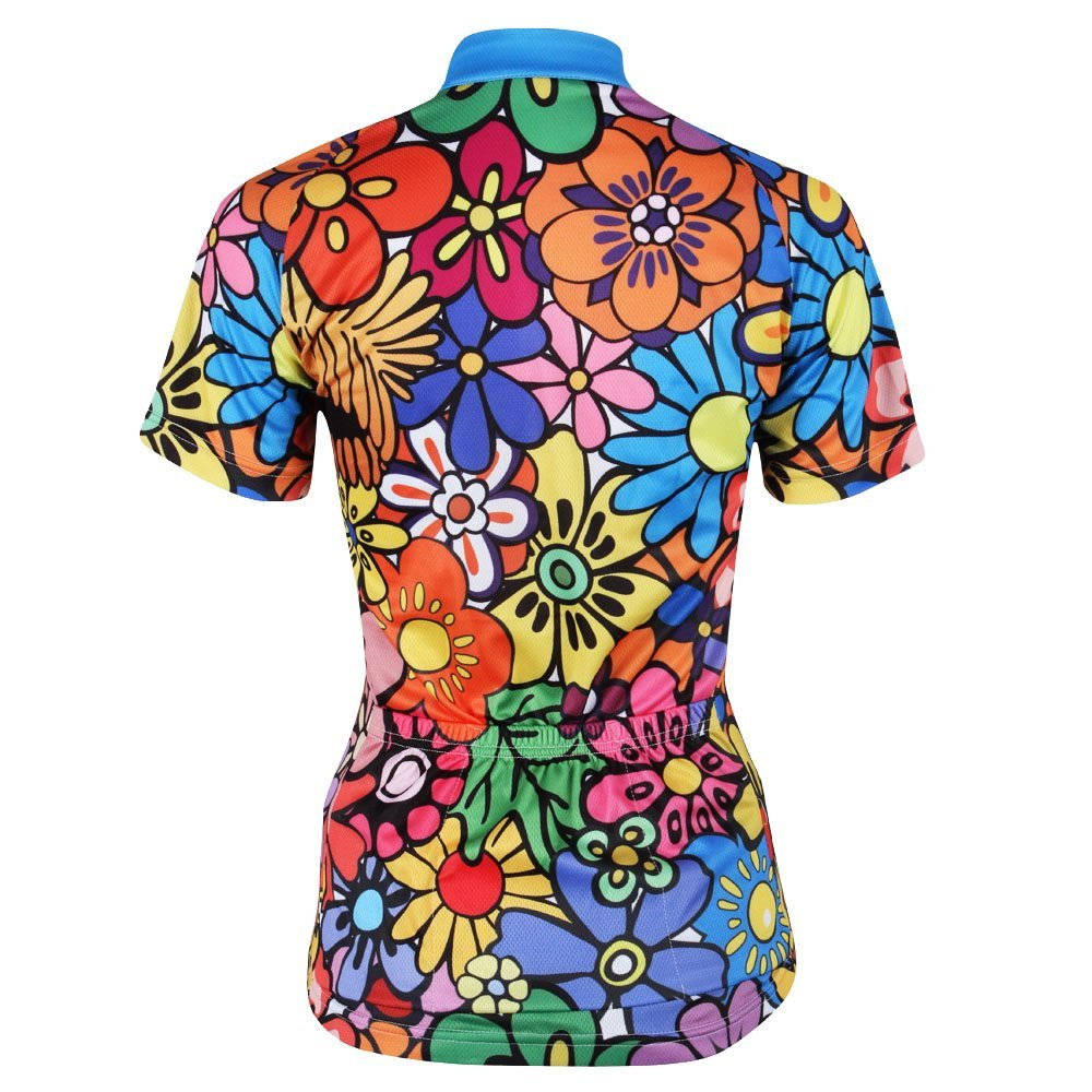 KMFEEL Popular Colorful Flower Zipper Closure Women Short Sleeve Cycling Shirt Jersey Sportswear KC-ShortJersey114-3XL