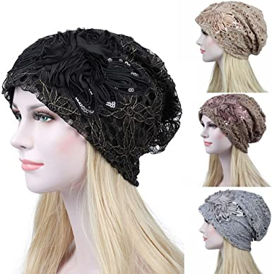Sequins India Muslim Ruffle Cancer Chemo Hat Beanie Scarf Turban Head Wrap Cap