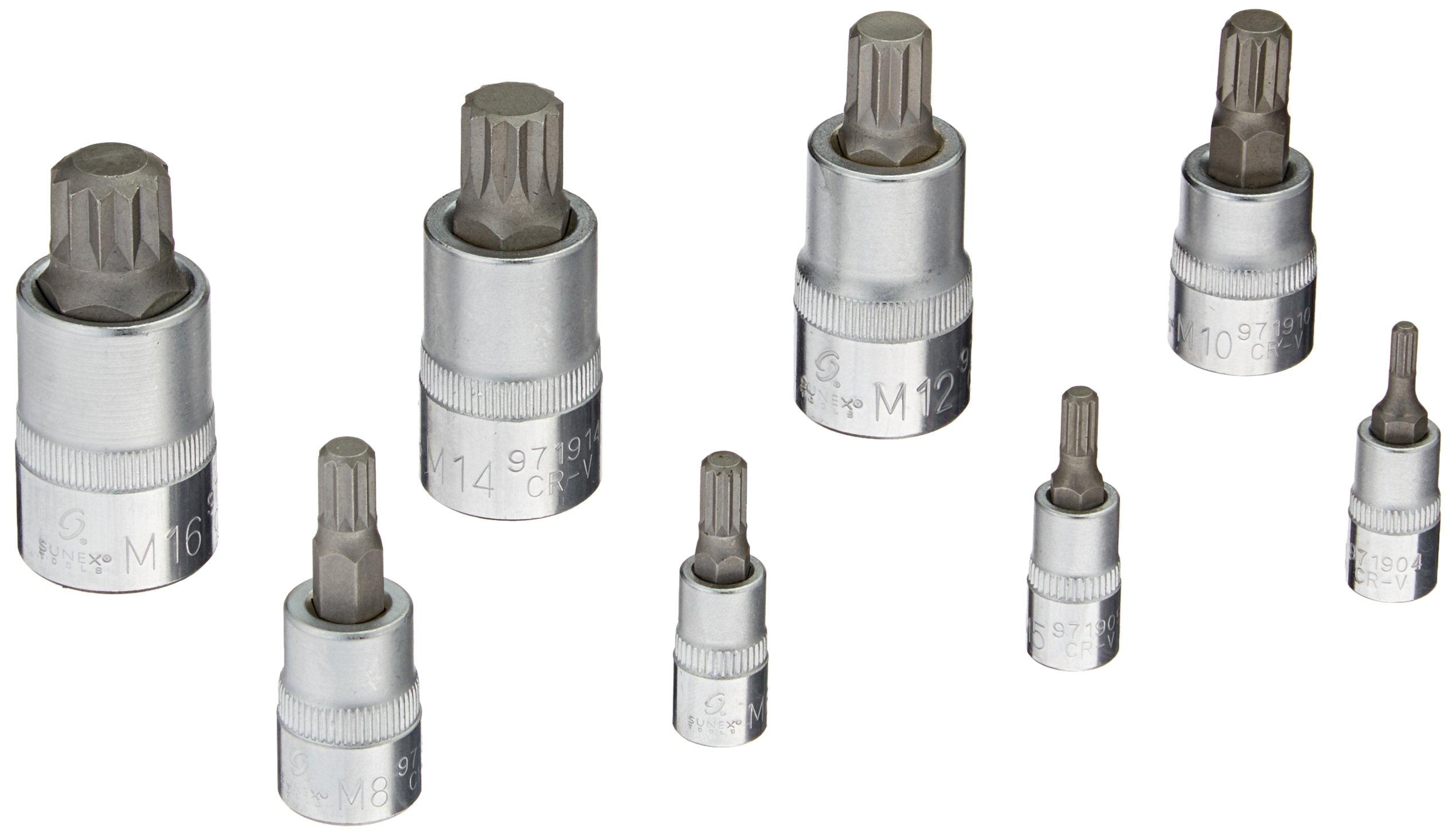 Sunex 9719 Triple Square Bit Socket Set, 8-Piece
