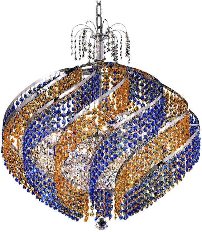 Elegant Lighting 8053D26C RC Spiral 15-Light, Single-Tier Chandelier, Finished in Chrome with Royal Cut Crystals