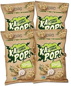 Ka-Pop! Popped Chips, Rosemary Garlic (3.25oz, Pack of 4) - Allergen Friendly, Ancient Grains, Gluten-Free, Paleo, Non-GMO, Vegan, Healthy, Whole Grain Snacks, As Seen on Shark Tank