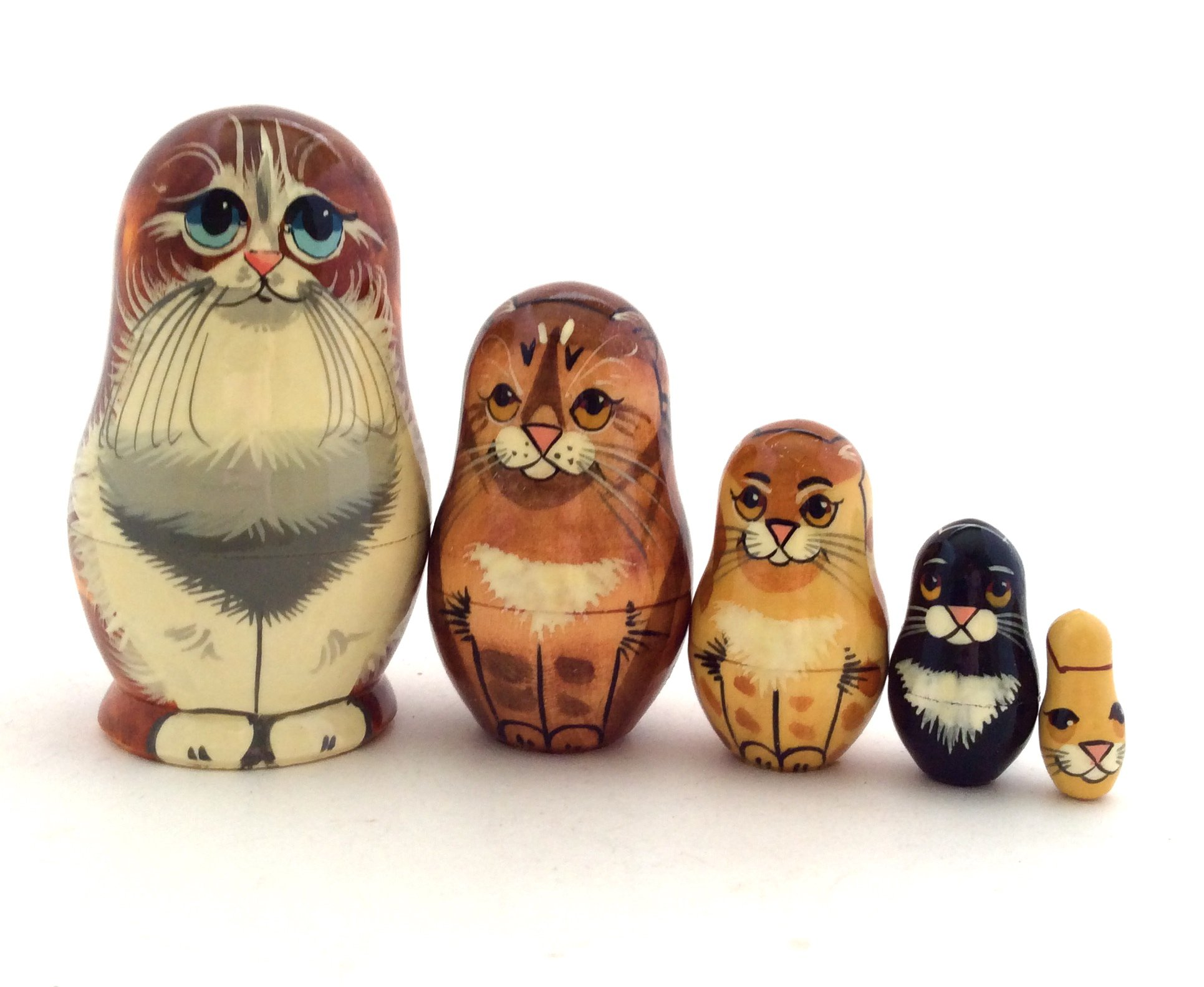 Red Cat Nesting dolls Russian Hand Carved Hand Painted 5 piece matryoshka Set by BuyRussianGifts