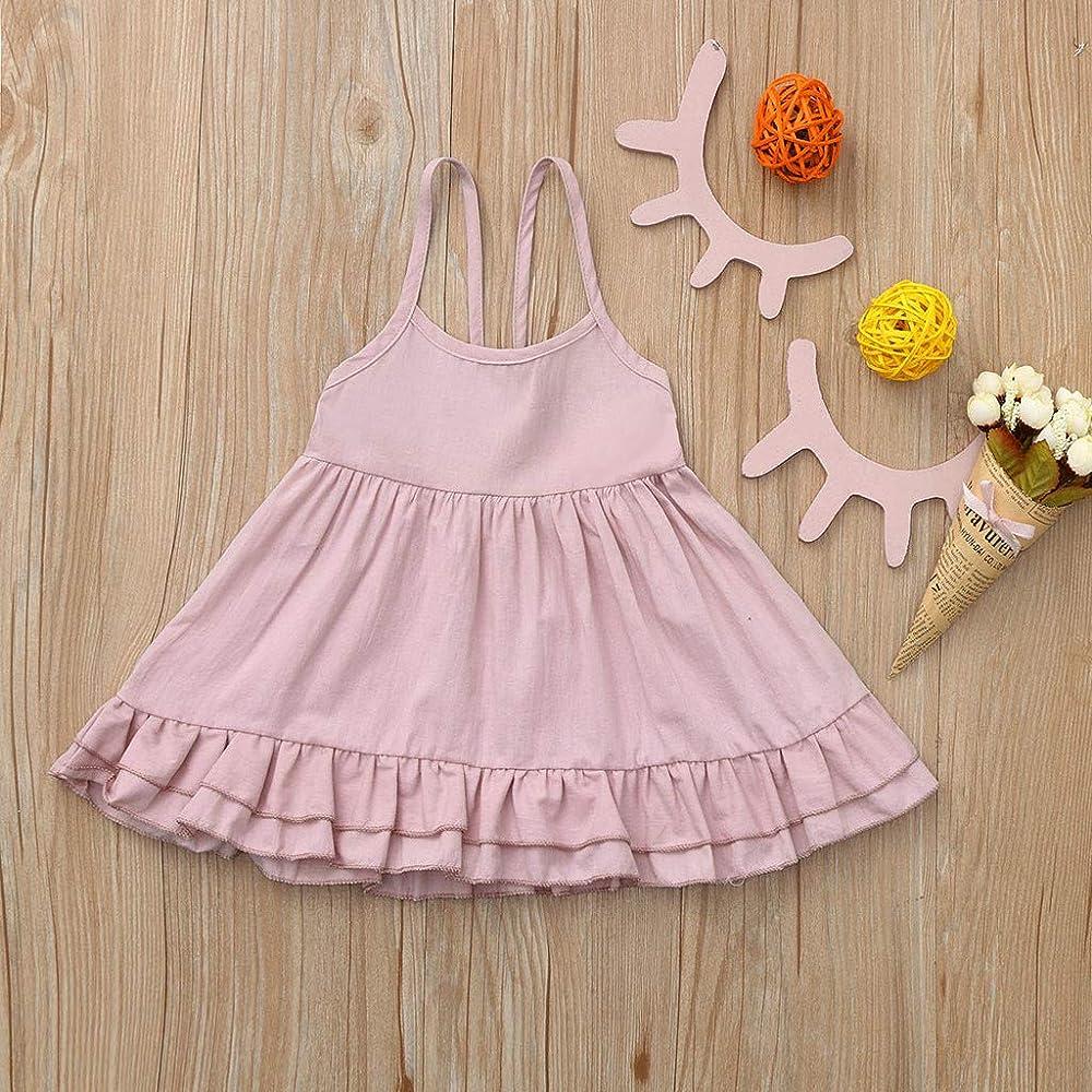 Hopwin Vestido sin mangas para niña, vestido de verano con ...