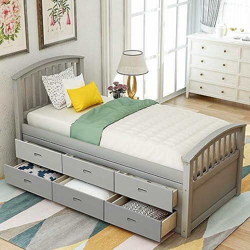 Twin Size Platform Storage Bed Wood Platform Bed
